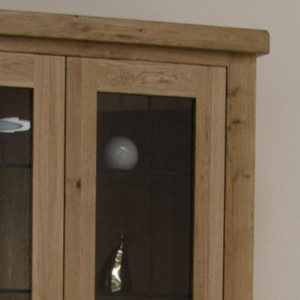 Delano Rustic Solid Oak Glass Display Cabinet-12179