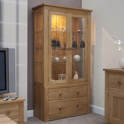 Toronto Solid Oak 2 Door Glass Display Unit Robson Furniture