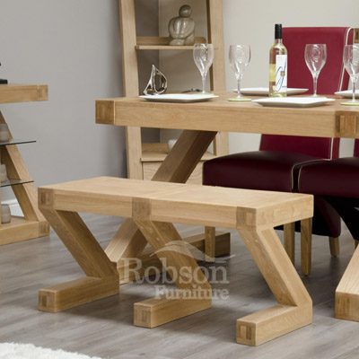 Zeus Solid Oak Dining Bench-11877