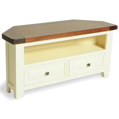 finest selection 03841 2d389 Blitz Cream Painted Acacia Corner TV Unit