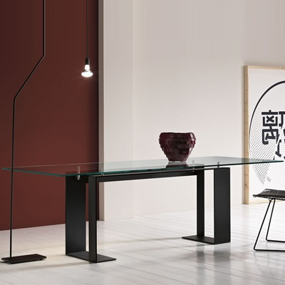 Miles Chrome 280cm Glass Dining Table Robson Furniture