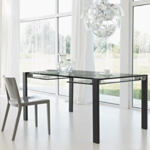 Delightful Livingstone 120cm Black Glass Extending Dining Table 22596