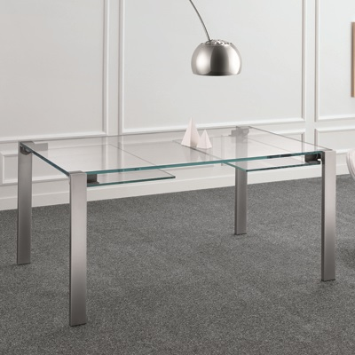 Livingstone 140cm Extraclear Glass Extending Dining Table