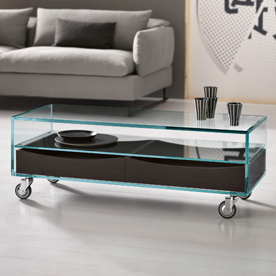 como basso glass coffee table wenge drawers