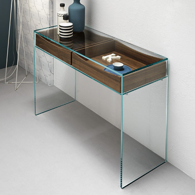 Gulliver glass console table with walnut drawers - Console en verre ikea ...