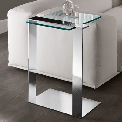 Joliet chrome tall glass lamp table robson furniture - Glass side tables for living room uk ...