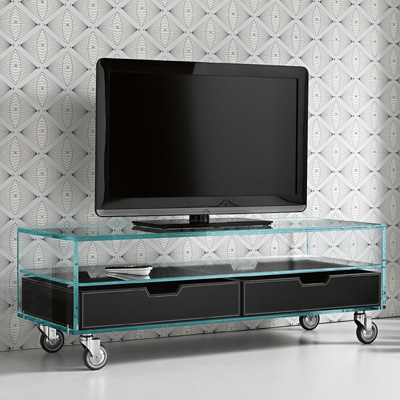 separation shoes e584d fee1b Como Basso Glass TV Unit Leather Drawers