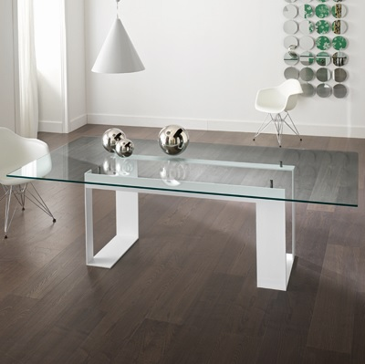 Miles White 280cm Glass Dining Table 23168