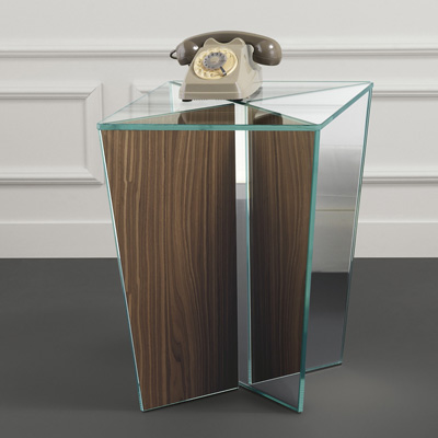 Mirage glass lamp table walnut mirror base aloadofball Image collections