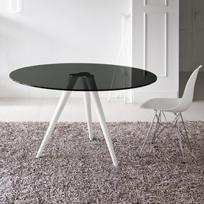Unity 120cm Round Smoked Glass Dining Table