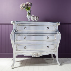 Alexandria Silver French 3 Drawer Bombe Chest-17484
