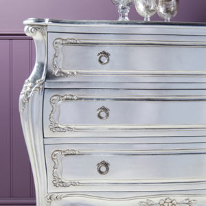 Alexandria Silver French 3 Drawer Bombe Chest-17480