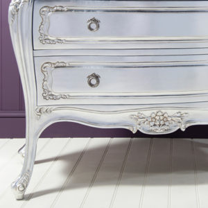 Alexandria Silver French 3 Drawer Bombe Chest-17482