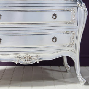 Alexandria Silver French 3 Drawer Bombe Chest-17483