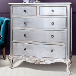 Alexandria Silver French 5 Drawer Chest-17474