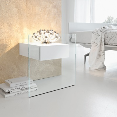 Domo Glass Wall Mounted Bedside Table Black