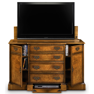 Breakfront TV Cabinet with Shallow Front Storage Burr Walnut AMC274-18794