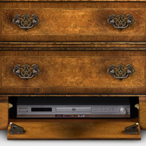 Breakfront TV Cabinet with Shallow Front Storage Burr Walnut AMC274-18793