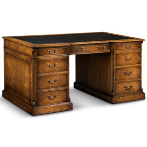 Beautiful Desk With Inverted Breakfront Centre Burr Oak AMC405 18988