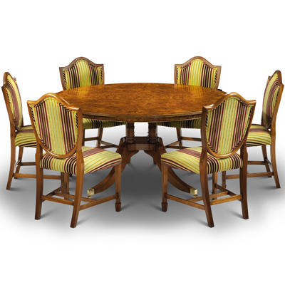Cluster Base Round Dining Table Burr Walnut W141-18516