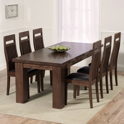 Belgravia Dark Solid Oak 200cm Dining Table With 8 Monty Chairs Robson Furniture