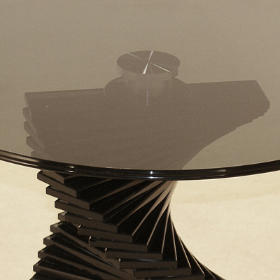 Black Glass Lamp Tables: Coral Black Glass Round Lamp Table,Lighting