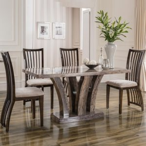 Amari Marble 160cm Dining Table With 6 Chairs 20905