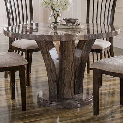 Amari marble round dining table robson furniture for Caprice marble dining table