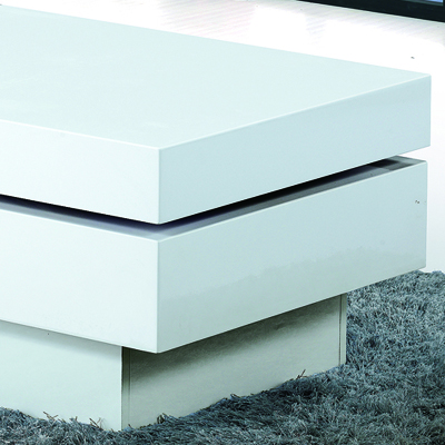 Prescott High Gloss White Movable Coffee Table