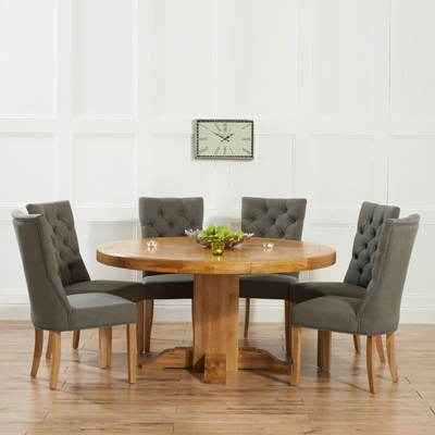 trina solid oak round dining table with 6 albany grey chairs robson furniture. Black Bedroom Furniture Sets. Home Design Ideas