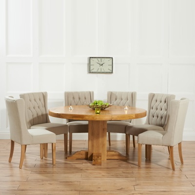 trina solid oak round dining table with 6 sophia beige chairs. Black Bedroom Furniture Sets. Home Design Ideas