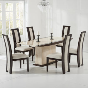Alberto Cream Marble 6 Seater Dining Set
