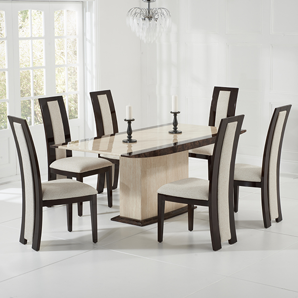 Riviera brown high gloss dining chairs pair robson furniture for Dining room tables 6 seater