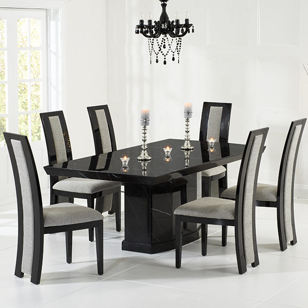 Kamila Black Marble Dining Table With 6 Chairs