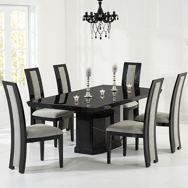 kamila black marble dining table with 6 chairs robson furniture rh robsonfurniture co uk black marble kitchen table sets black and white marble kitchen table