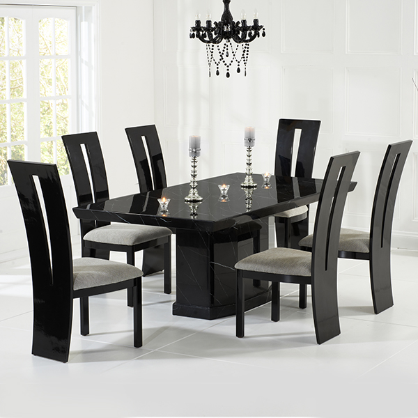 Kamila black marble dining table with 6 chairs robson Black marble dining table set