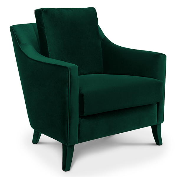 Como Designer Green Velvet Armchair Robson Furniture