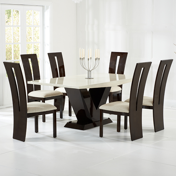 Vienna Cream And Brown Marble Dining Set With Chairs