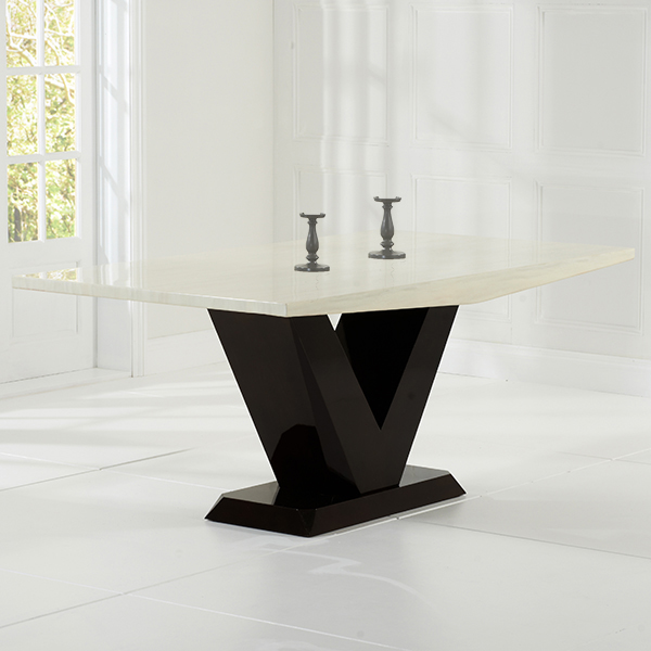 Vienna Cream And Brown Marble Dining Table Robson Furniture
