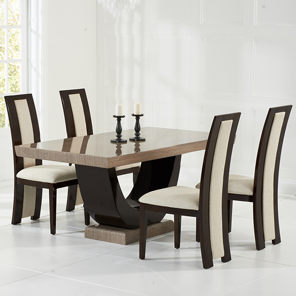 Brown Dining Room Table: Riviera Brown Marble Dining Table