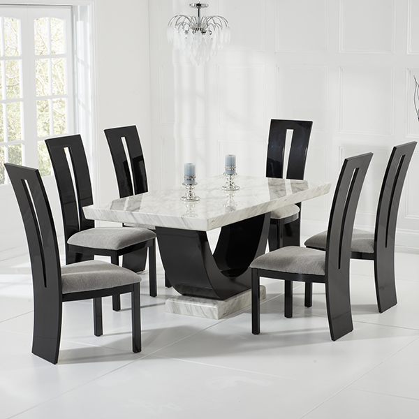 Cool Riviera Cream And Black Marble Dining Table With 6 Chairs Download Free Architecture Designs Intelgarnamadebymaigaardcom