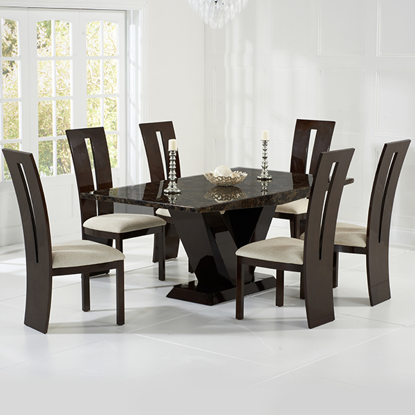 Vienna Brown Marble Dining Table Robson Furniture