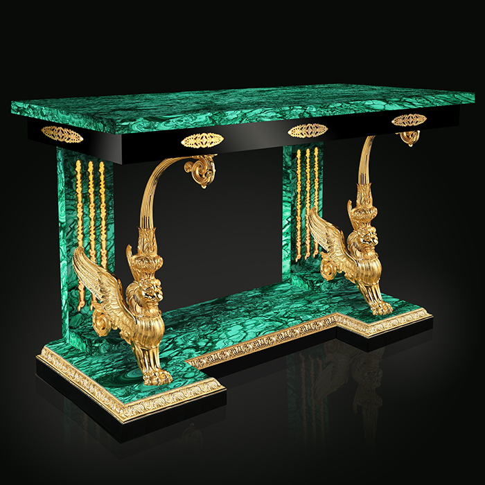 Royal Luxury 24k Gold Malachite Console Table Robson