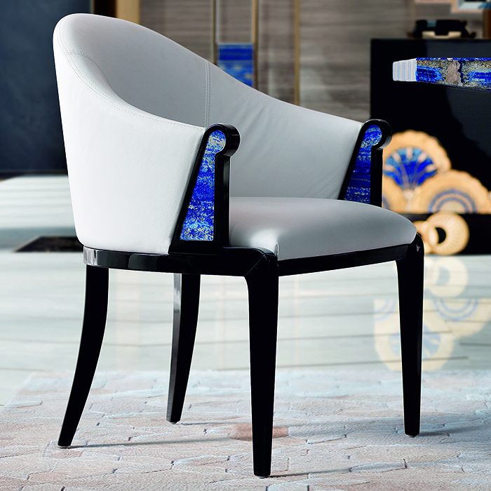 Tiffany Luxury Lapis Lazuli White Dining Chair