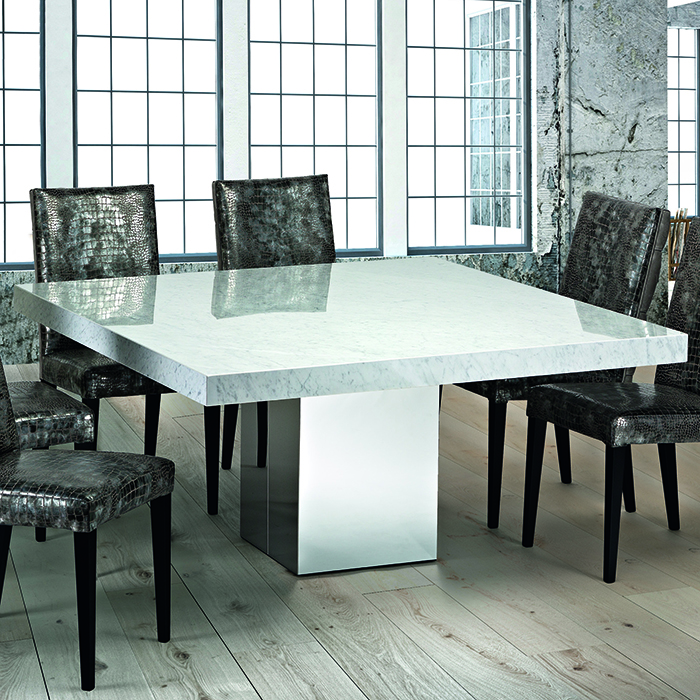 Manali Cortina White Marble Square Dining Table Robson Furniture
