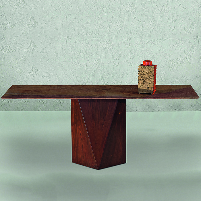 T Freya Rustique Wood Stone Hall Table