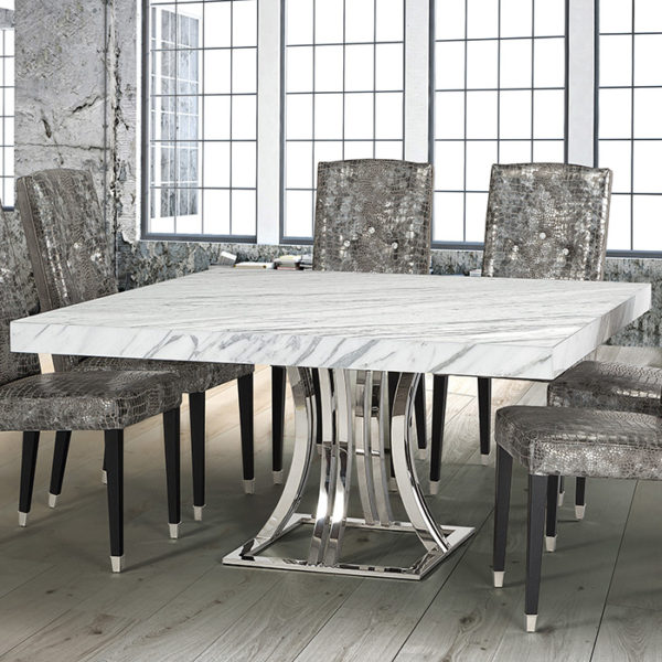 Marble Dining Room Table: Aroma Cortina White Marble Square Dining Table