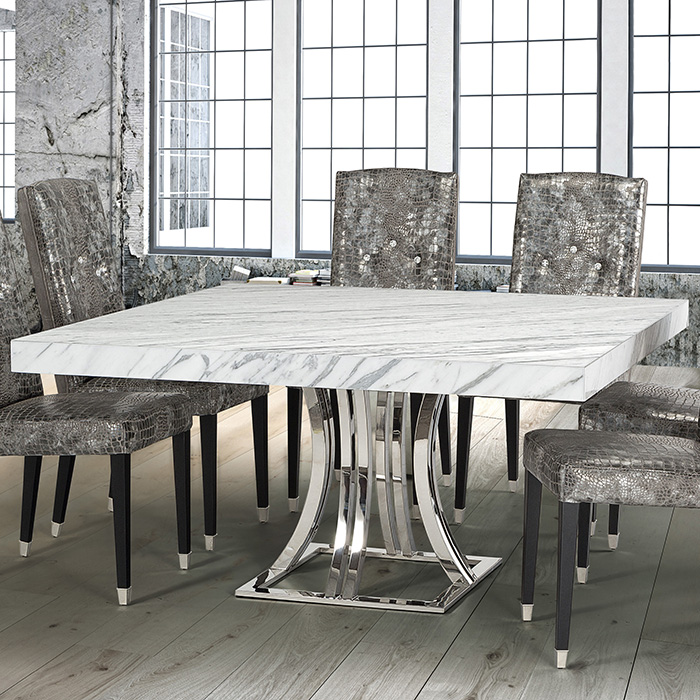 Aroma Cortina White Marble Square Dining Table - Robson ...