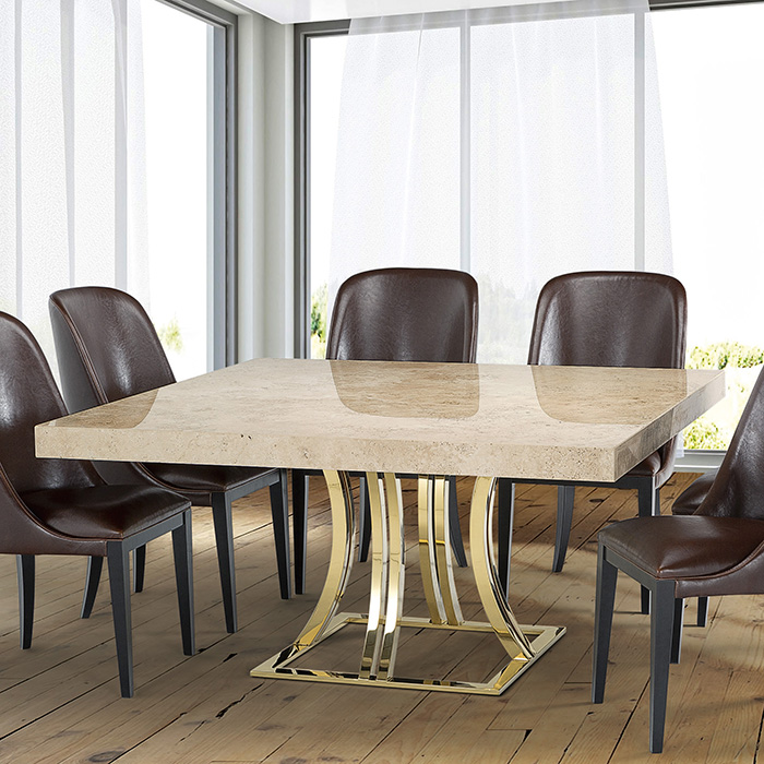 Aroma Tivoli Gold Marble Square Dining Table Robson Furniture