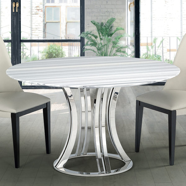 Granite Round Dining Table: Aroma Striped Stone Round Marble Dining Table